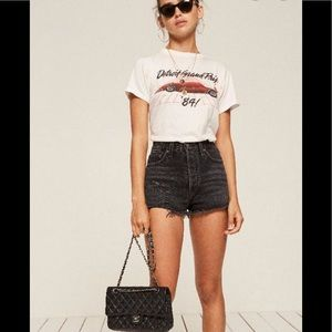 Reformation Dixie High Waisted Distressed Shorts